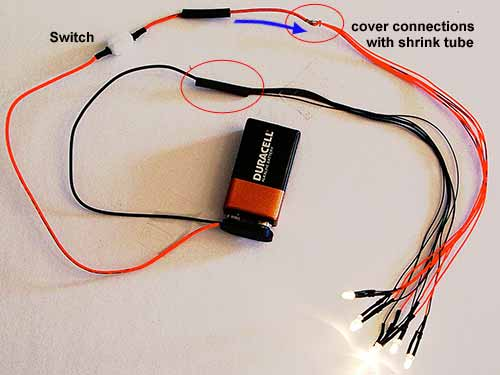 Led Lights Switch: Twist the red leads on your lights with the red lead on this 12 inch strap.,Lighting