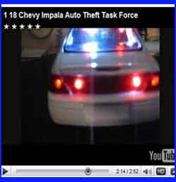 Diecast 1:18 Police Emergency Chevy Impalla Theft task force.  Siren, wig-wag, flashers and solids from us.