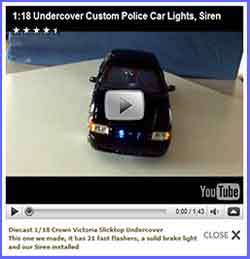 Diecast 1/18 Crown Victoria Slicktop Undercover <br> This one we made, it has 21 fast flashers, a solid brake light and our Siren installed.