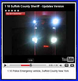 Diecast 1:18 Police Emergency Crown vic from Suffolk NY.  Siren, wig-wag, flashers and solids from us.  Lightbar from Shawn
